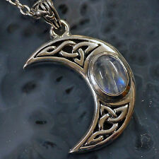 edler Druiden Mond Anhänger Mondstein 925 Silber Peter Stone Mond zunehmend