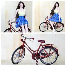 For 1/6 Figure Scene Accessories Mini Red A Bike/Bicycle Model Wheel Movable