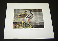 "Robert Bateman Limited Edition Signed Print ""Mallard Pair"" 1985 Includes Stamp"