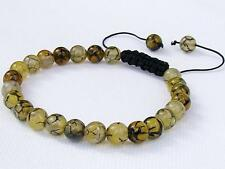 Gemstone Men's Shamballa bracelet all 8mm Natural Dragon Veins Agate beads