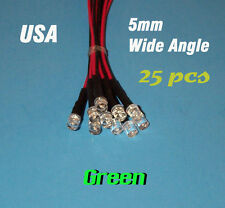 25 pcs  LED - 5mm PRE WIRED LEDS 12 VOLT ~ WIDE GREEN ~ 12V PREWIRED FLAT TOP