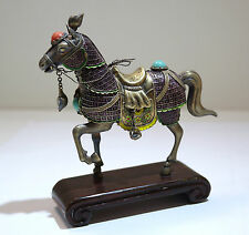 Chinese Sterling Gilt Silver Purple Enamel Figure of Horse Coral & Turquoise