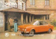 Skoda S110 R Coupe 1974 Original del Reino Unido Hoja folleto de ventas