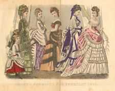 Victorian, Ladies Fashion, Dress, Hand Colored, Vintage, 1874 Antique Art Print,