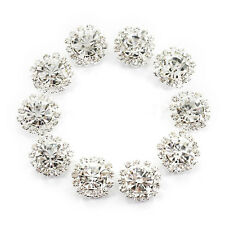 10pcs Clear Crystal Diamante Buttons Flatback Embellishment Wedding Craft 15mm