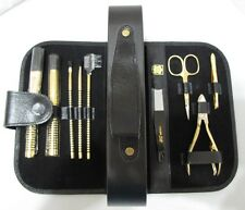 SOLINGEN Germany 9 Piece Manicure Beauty Makeup Brushes Set Kit Nail Leather