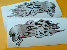 SKULL & METAL FLAMES Car Motorcycle Stickers Decals 2 off 140mm