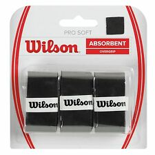 WILSON Pro Overgrip Soft per tennis, Set di 3 black soft grip su
