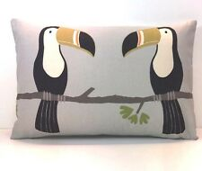Scion ' Terry Toucan ' doublesided Charcoal/putty cute cushion cover 12x16""