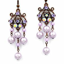 Swarovski Elements Crystal Amethyst Violet Pearl Chandelier Dangle Earrings Gift