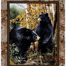 LARGE BLACK BEAR GRIZZLY PANEL WALL HANGING FABRIC MATERIAL QUILTS HOME DECOR