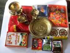 Set of Hindu Home Puja Havan Brass Items Copper Lota Samagri Religious Diwali