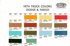 1974 DODGE TRUCKS VAN PICKUP FARGO 74 PAINT CHIPS DUPONT