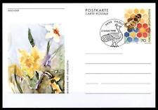 Biene und Narzissen. Postkarte. SoSt. Liechtenstein 1996