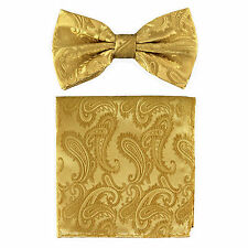 New formal Men's micro fiber Pre-tied Bow Tie & Hankie Gold paisley