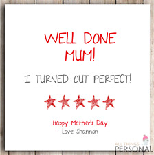 Personalised Mother's Day Card Mum Mummy Mother's Day Funny Cheeky Joke Humour