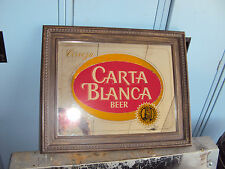 CARTA BLANCA BEER LIGHT UP MIRROR FRAMED SIGN *VINTAGE* 70S