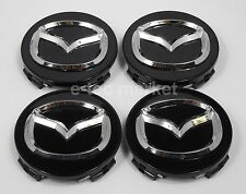 (4) Mazda 3 5 6 626 CX-7 CX-9 Miata Milennia Protoge RX-8 Black Center Caps Cap