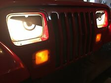 1987 1988 1989 1990 1991 1992 Jeep Wrangler YJ Angry Mad Eyes Headlight Cover