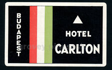 Rare Vintage Hotel Carlton Budapest Hungary Bohemia Luggage Decal Sticker Label