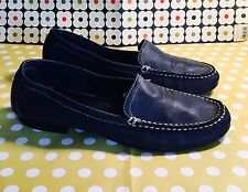 Women's Naturalizer Navy Blue Leather Loafers Slip On Shoes Sz 8M