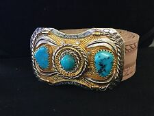 Mens Belt Buckles,Sterling Silver, 14K Gold Plated, Turquoise, Handmade