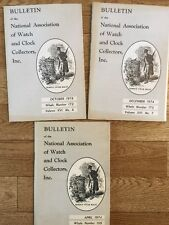 Bulletin of the National Association of Watch & Clock Collection 3 Booklets 1974