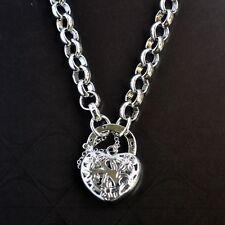 New 9K White Gold Filled 3 Flower Filigree Heart Pendant Belcher Chain Necklace