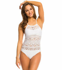 Kenneth Cole White Suns Out Buns Out Crochet One Piece Swimsuit M Medium NWT NEW