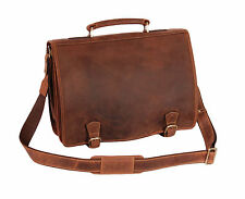 Mens REAL LEATHER Briefcase Laptop Satchel Vintage Leather Tan Office Use Bag