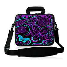 "Purple Blue 17"" 17.3"" Laptop Computer Handle Sleeve Case Bag with Shoulder Strap"