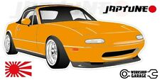 Mazda Miata MX5  Style Sticker - Orange with Enkei Style Rims - JapTune Brand