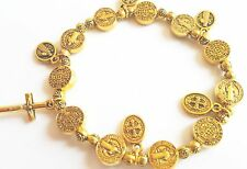St. Benedict Rosary Beads Bracelet Cross Crucifix 18K Gold Antique Protection