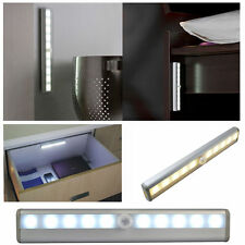 Wireless Battery Powered PIR Motion Sensor 10 LED Night Light Lamp Wall Wardrobe