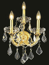 World Capital Maria Theresa 3 Light Crystal Wall Sconce in Gold