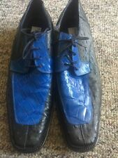 MAURI ALLIGATOR Ostrich Black and Fashion Blue SIZES 11.5 Made In Italy