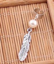 Retro Silver Plated Metal Leaf Dangle Ear Cuff New Elegant Women Pearl Earrings