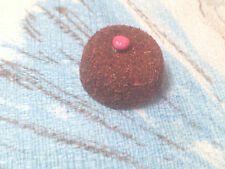 Dollhouse Miniature Chocolate Cherry Cake W/ Chocolate Shavings & Red Cherry Top