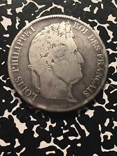 1833-T France 5 Franc Lot#5057 Large Silver Coin! Scratched
