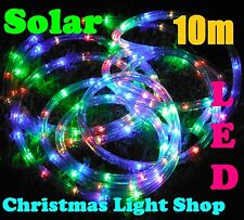 SOLAR LED RopeLight 10m Multicolour Christmas Flashing Outdoor Garden Lights