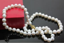 """7-8MM White Akoya Cultured Pearl Necklace 18"""" AAA"""
