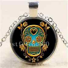 Sugar Skull with Roses Cabochon Glass Tibet Silver Chain Pendant Necklace