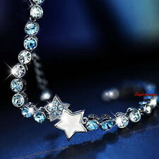 18k White Gold Filled Mother Pearl Star Bracelet Made With Swarovski Crystal T13