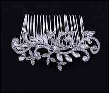 Silver Bridal Wedding Clear Austrian Leaf Crystal Hair ClipComb Tiara Head Piece