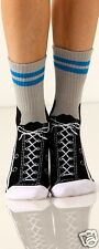 Foot Traffic Sneaker Gray Black White Slipper Non Skid Socks Ladies Socks New