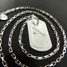 A451 GENUINE REAL 925 STERLING SILVER S/F SOLID CLASSIC DOG TAG NECKLACE CHAIN
