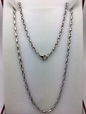 "New Men's Solid 10K White Gold 20"" Fancy Link Chain Necklace 23.5 g, 4mm Jewelry"