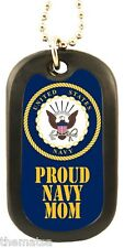 PROUD NAVY MOM SEAL LOGO MILITARY REGULATION DOG TAG WITH CHAIN