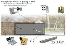 Sliding Gate Kit for gates up to 3.6m (bolt down track latch and bolt on wheels)
