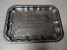 Antique Metal Plated Advertising Tray HR Shaddinger Gen Merch Blooming Hills PA